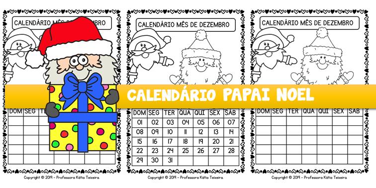Calendário mês de dezembro Papai Noel